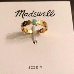 Madewell gold/turquoise one stone band ring